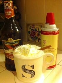 Hot Chocolate, Original Cinn, and alcoholic whipped cream - a winter match made in heaven!